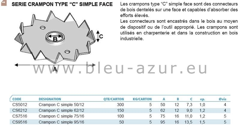 "Crampons type ""c"" simple face - Fiche technique"
